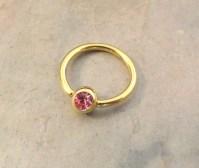 16 Gauge Gold Cartilage Hoop Earring Tragus with Pink Crystal