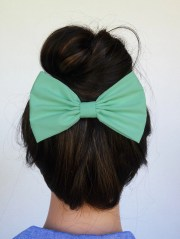 mint hair bow clip