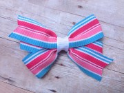pink & blue hair bow striped