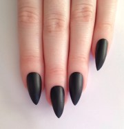 matte black stiletto nails nail