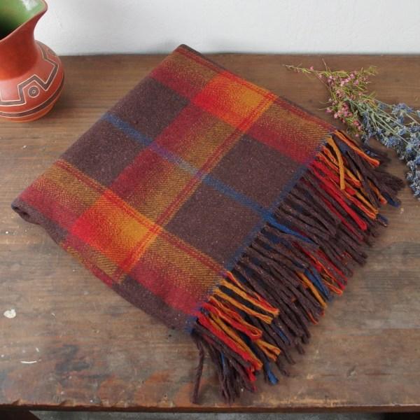 Vintage Camp Blanket Plaid Wool Camping Throw