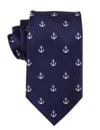 Mens Tie 8.5CM Navy Blue Silver Anchor M044-T85 Ties Necktie