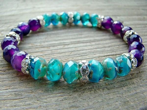Beaded Stretch Bracelet Blue Glass Bead Bracelet Purple