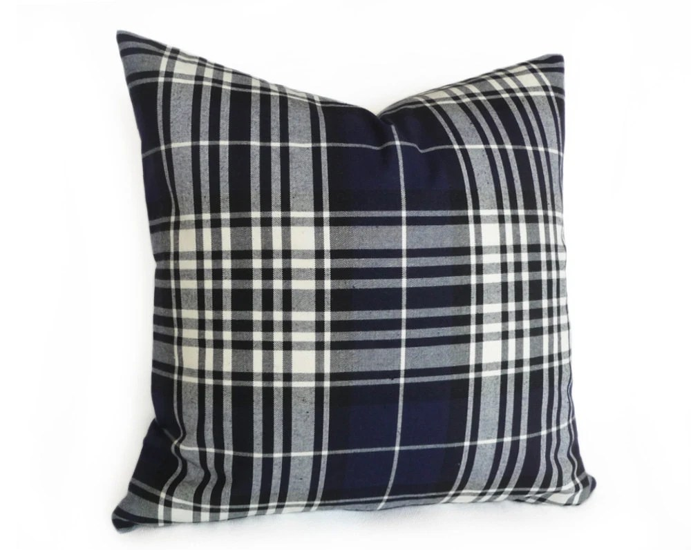 Navy Blue Plaid Pillow Tartan Plaid Pillow Covers Decorative