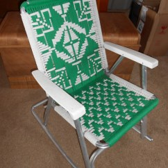 Vintage Lawn Chair How Are Chairs Made Mid Century Folding With Macrame Aluminum