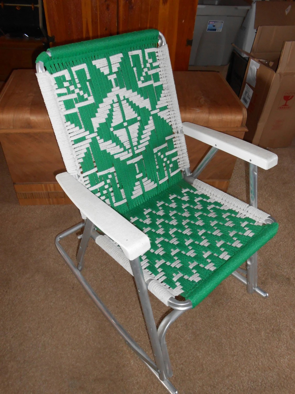 Retro Lawn Chairs Vintage Mid Century Folding Lawn Chair With Macrame Aluminum