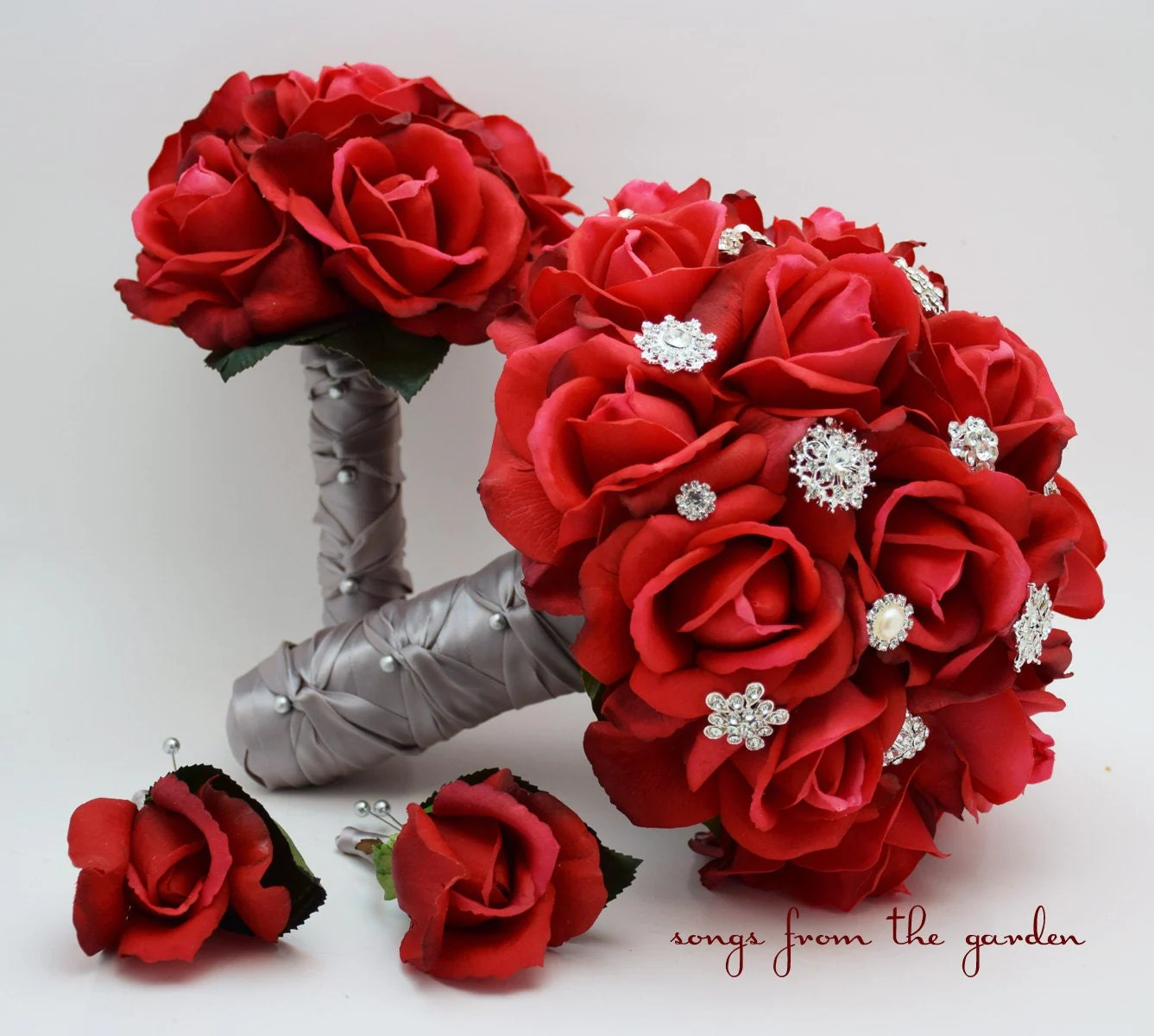 Red Roses  Rhinestones Bridal Bouquet Real Touch Bridal