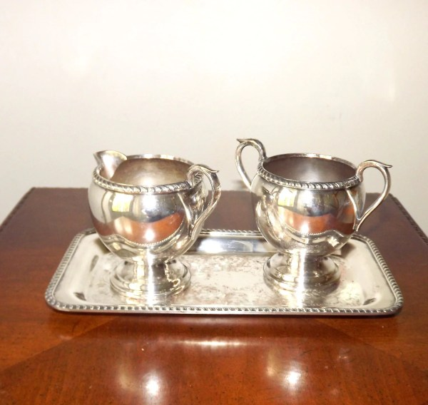 Vintage Silver Sugar And Creamer Set With Tray Ornate