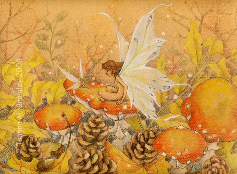 Pumpkins And Fall Leaves Wallpaper Golden Autumn Whimsical Fall Flower Fairy Fantasy Nature
