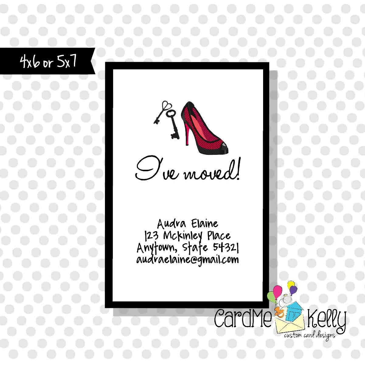 Printable Change of Address Keys and High Heels Card Digital