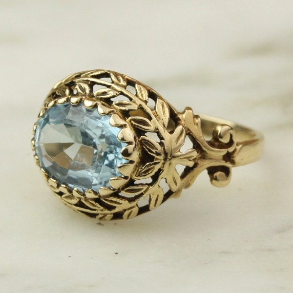 Vintage 14k Yellow Gold Aquamarine Ring With Hoardjewelry