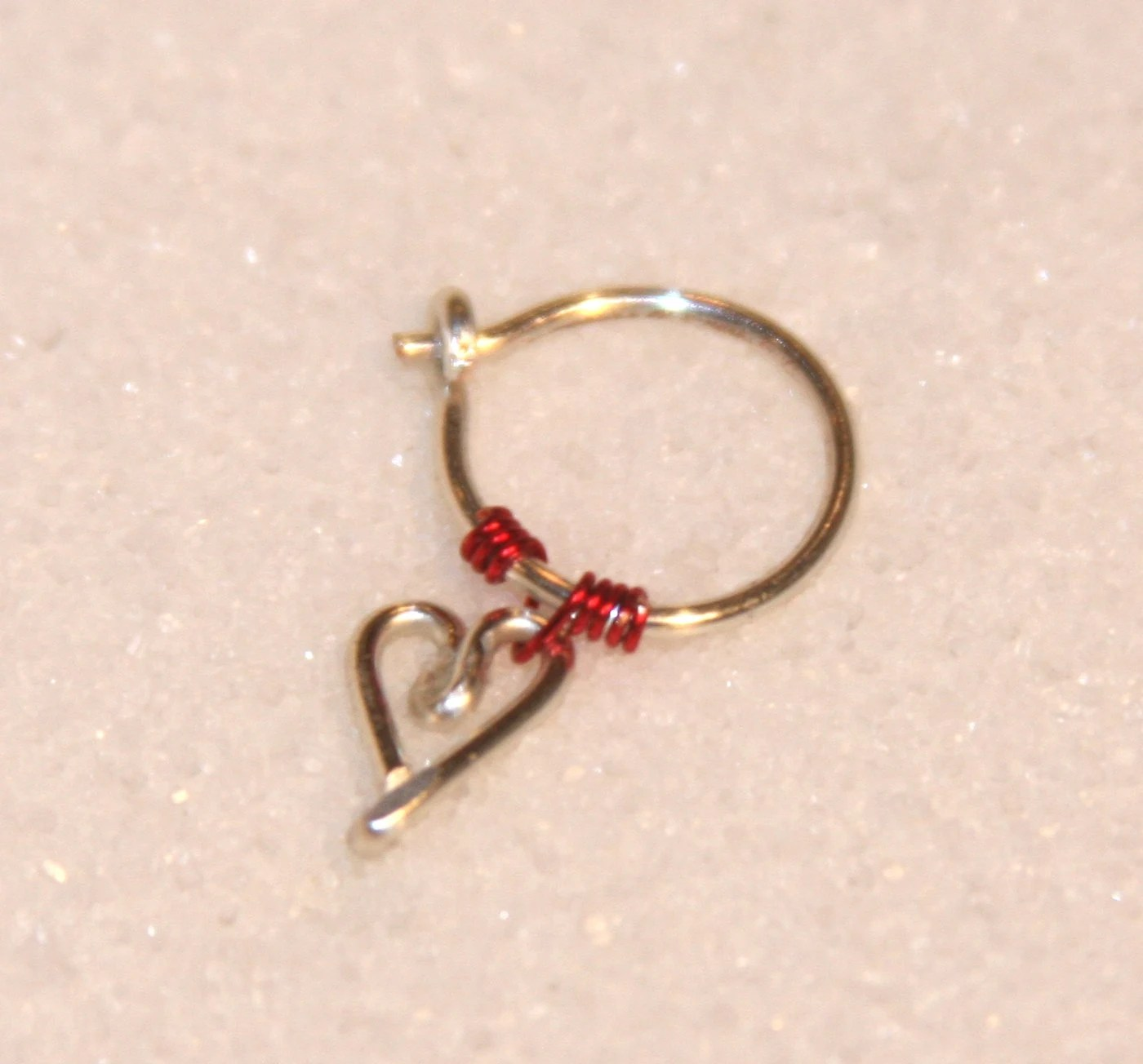Items similar to 18 Gauge Cartilage Earrings, Heart