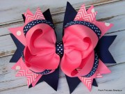 girls hair bows navy blue pink