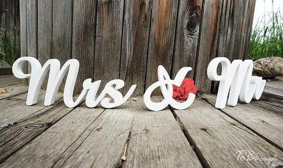 Wedding Sign Mr & Mrs Wooden Letters Table Decor By ToBicouple