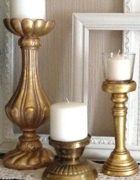 Gold Pillar Candle Holders Set of 3