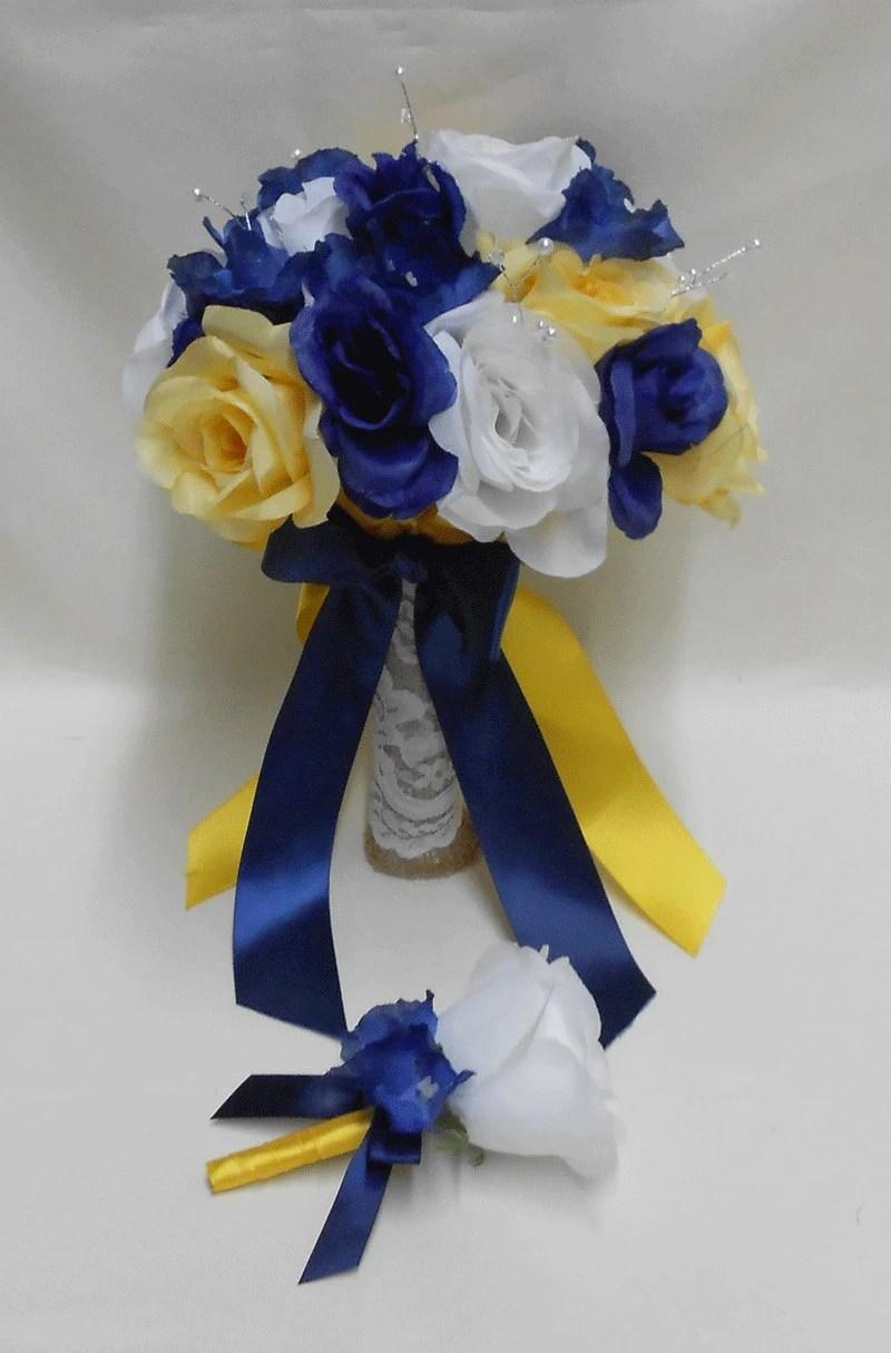 Wedding Navy Blue Yellow Grey silver Bridal Bouquet by