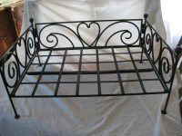 Cute Wrought Iron Dog Bed Frame with Scrolls and Hearts