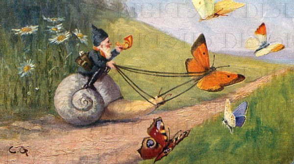 Fab Gnome Snail With Butterfly Vintage Fairy Digital