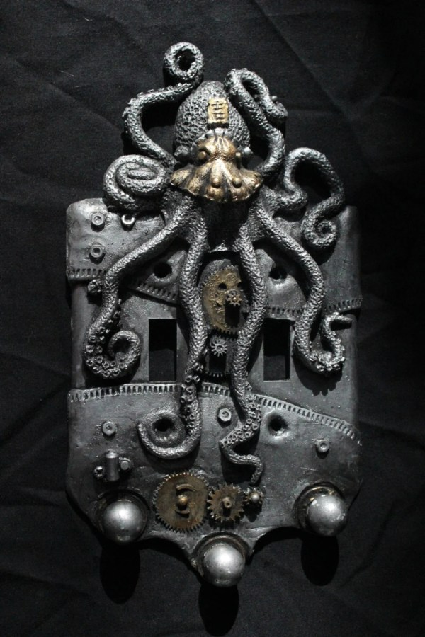 Steampunk Octopus Double Switch Plate. Wall Art Sculpture