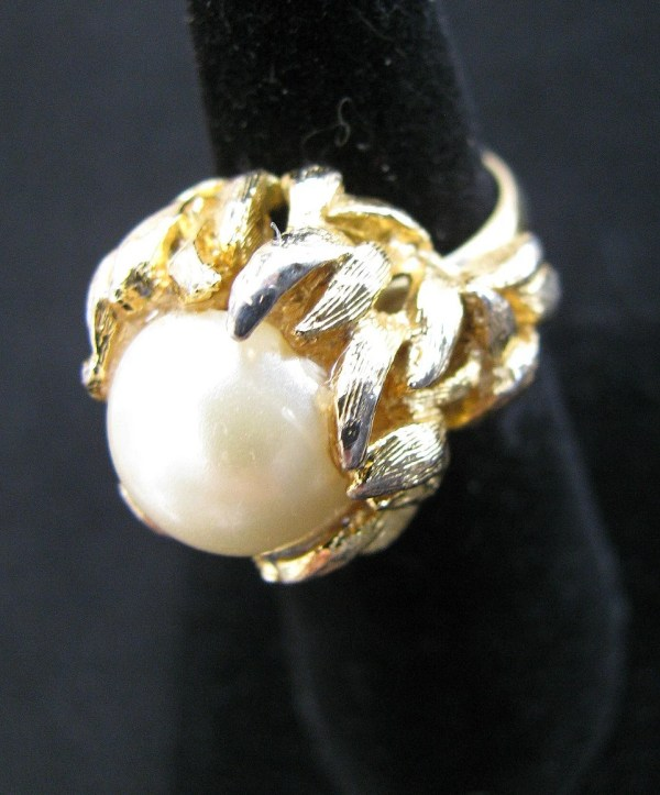 Napier Cocktail Ring Faux Mabe Pearl Gold Organic Form Sea