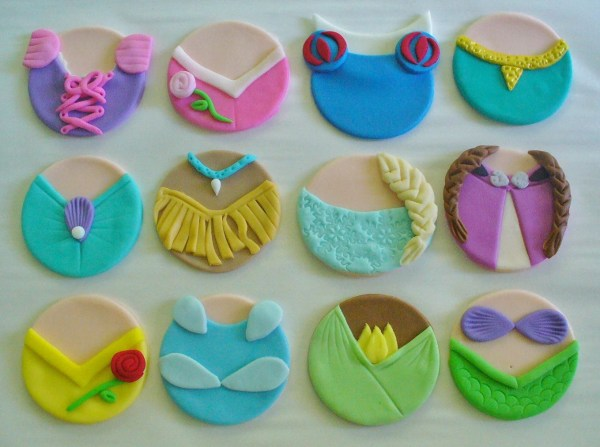 Edible Fondant Disney Princess Dresses Inspired Cupcake