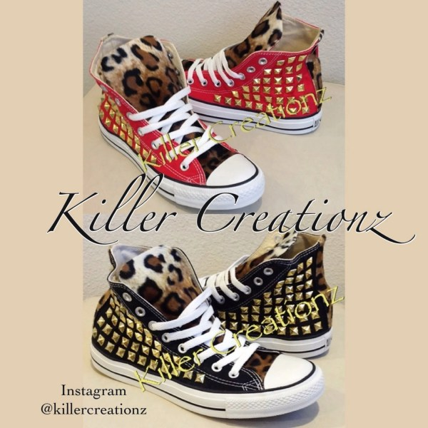 Custom studded Converse Chuck Taylors with faux leopard fur