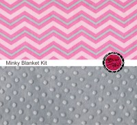 Cotton and Minky Baby Blanket Kit PINK & GRAY by FabricBrat