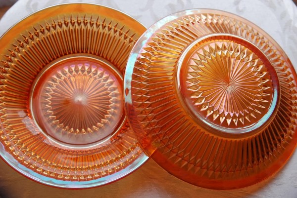 Orange Iridescent Carnival Glass Plates Wsjglass