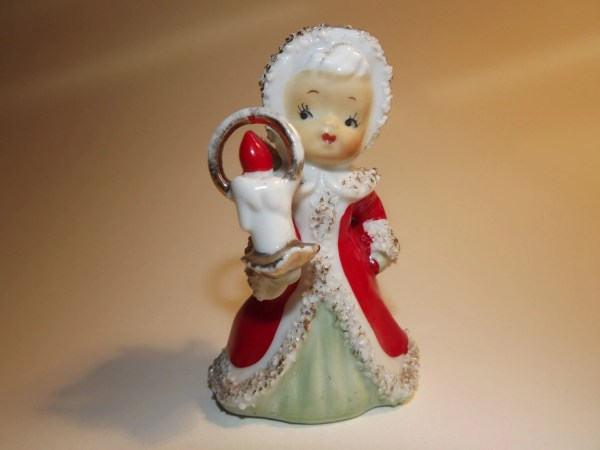 Vintage Lefton Christmas Angel Bell With Candle