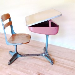 Desk Chair Pink Stool School 1950 39s Combo And Blue