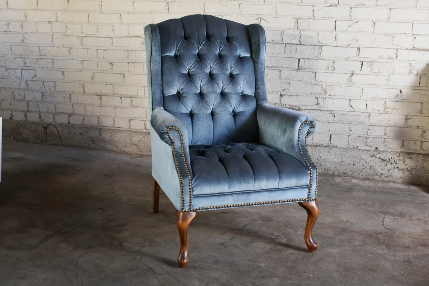 Blue Velvet Wingback Chair Vintage Antique Slate Blue Tufted Velvet Wingback Chair