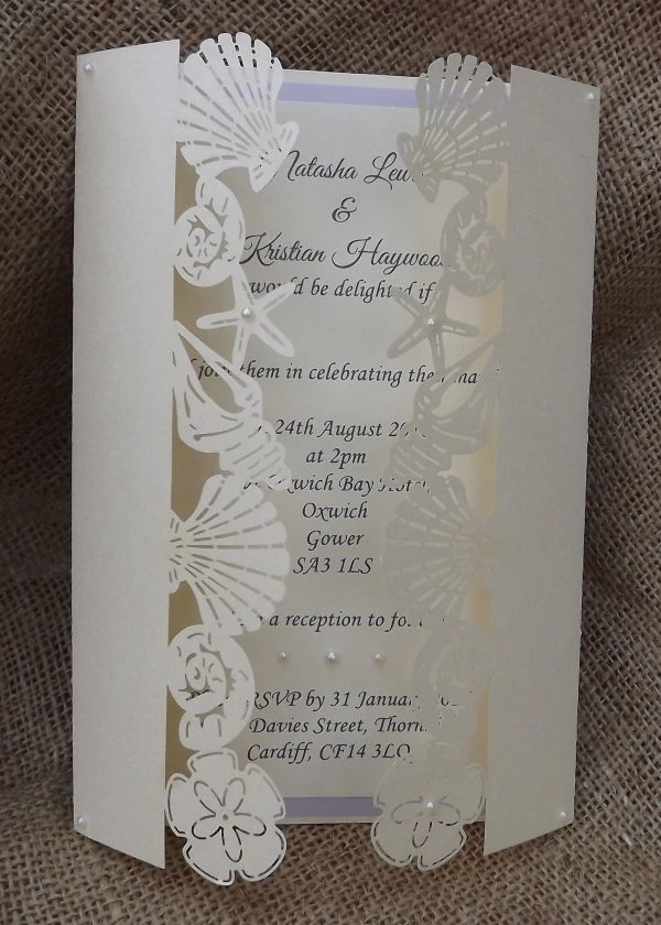 Beach Laser Cut Wedding Invitation