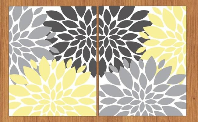 Floral Flower Burst Yellow Grey Set Of 2 Wall Art Baby Decor