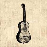 Acoustic Guitar Art Vintage Wall Art Music Guitar Print ...