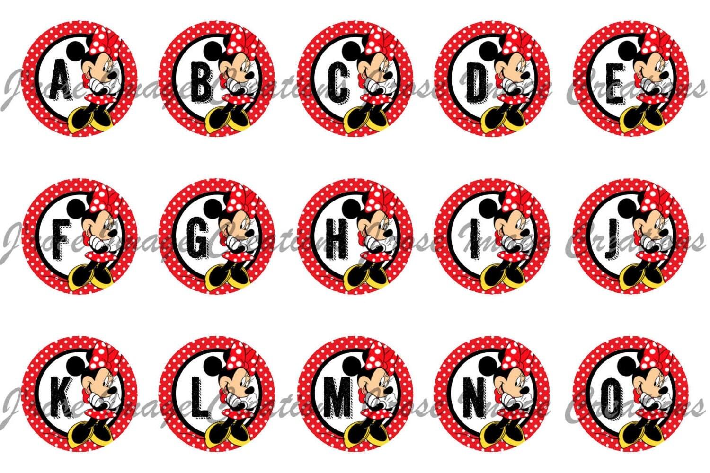 Minnie Mouse Alphabet Abc 1 Inch Digital Bottle Cap Images