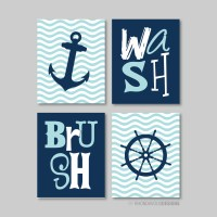 Nautical Bathroom Print Art Bathroom decor Bathroom art