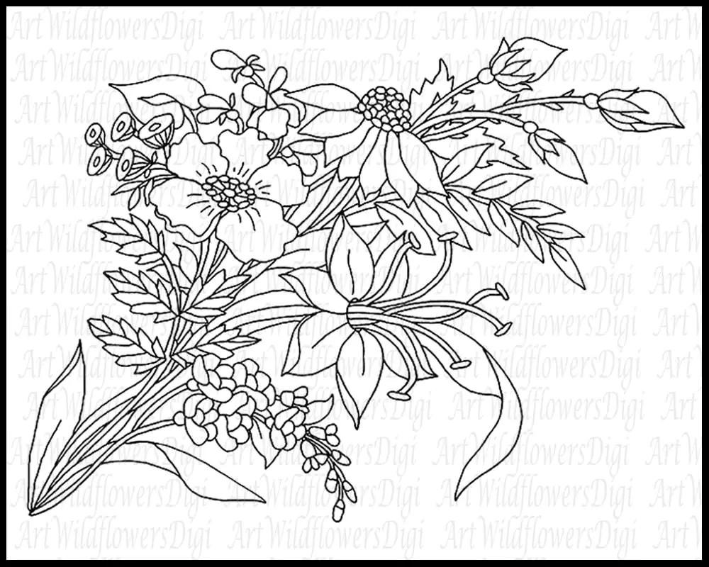 Artist Template or Wildflower Digital Stamp by