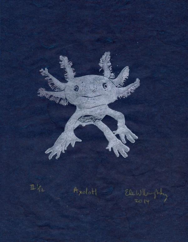 Axolotl Mexican Salamander Linocut Print Walking