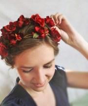 red flower crown wedding hair accessories