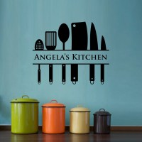 Kitchen Wall Decal Custom Name Decal Kitchen Utensil Wall