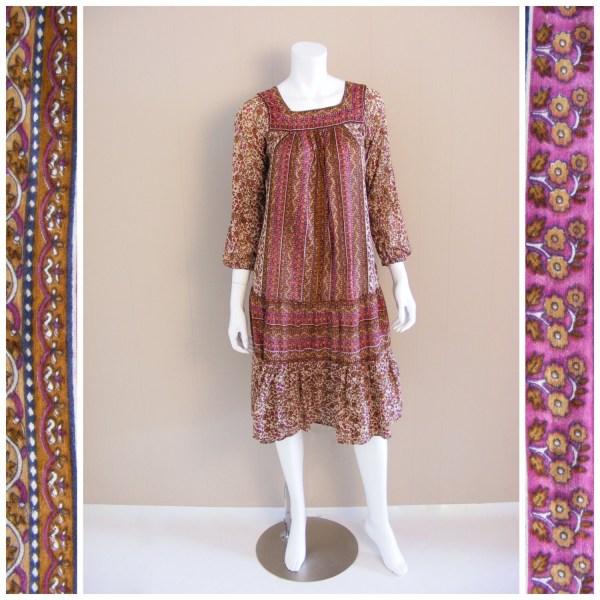 Vintage India Cotton Gauze Dress 1970s