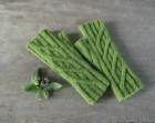Green fingerless gloves hand knit geometric rib mitts gift women teen