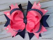 girls hair bows navy blue pink
