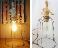 Vintage 1920's Munzerlite Chalkware Lamp Half Doll Lamp