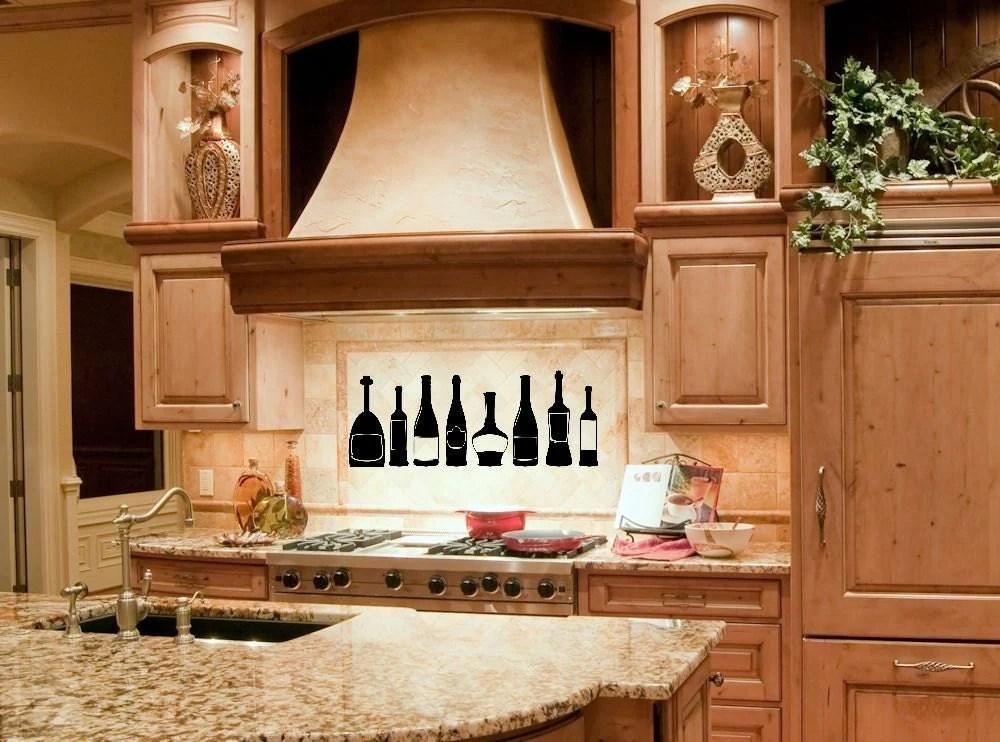 Kitchen Decor Kitchen Wall Decal Wine Bottle Wine Decor
