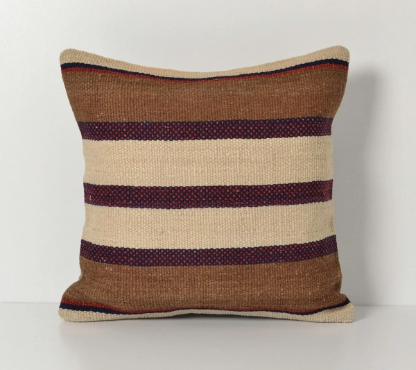 Turkish Kilim Pillow Covers Handwoven Modern Striped