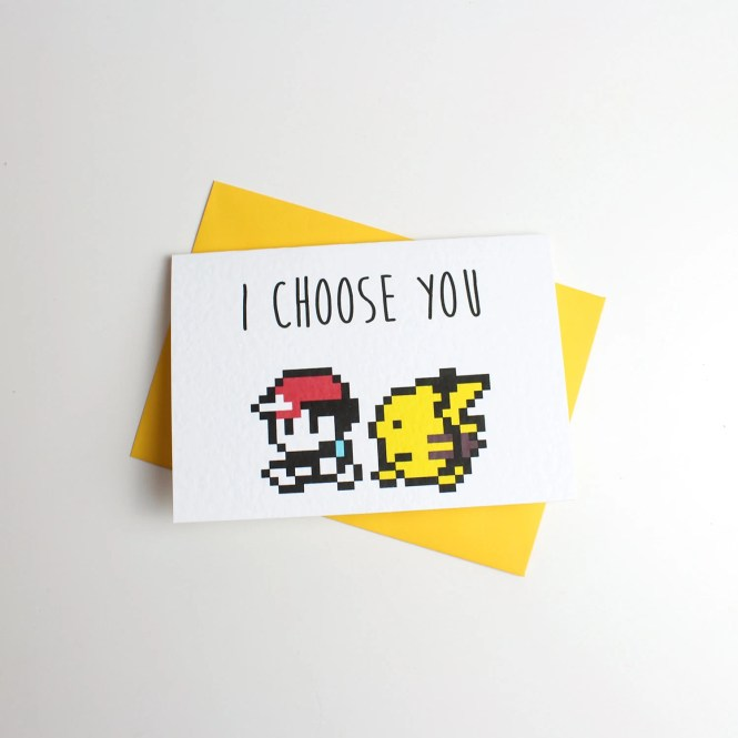 I Choose You Pokemon Valentine Card - Anniversary Card - Greeting Card