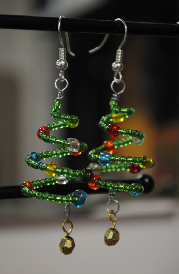 Christmas Tree Earrings Holiday Beaded Jewelry