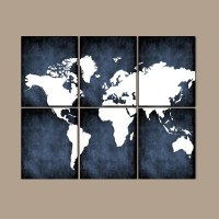 WORLD MAP Wall Art CANVAS or Prints Bedroom Pictures Grunge