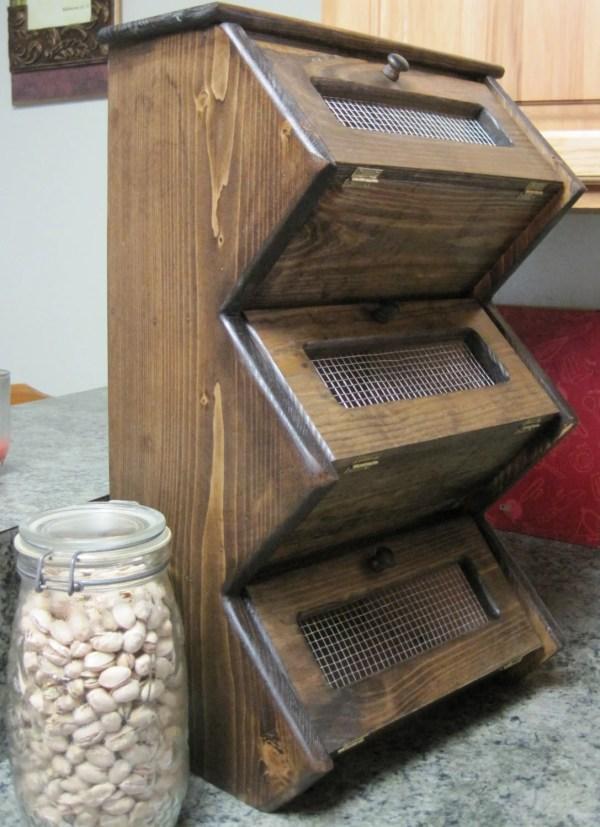 Rustic Vegetable Bin Storage Cupboard Primitive Shelf Onion